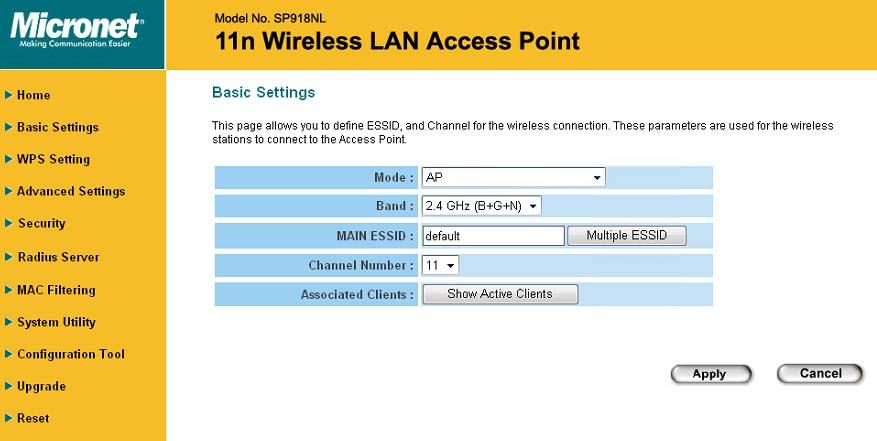 2-4 Select an Operating Mode for Wireless Access Point This access point can be operated in different modes; you can click Basic Setting on the left of web management interface to select an operating