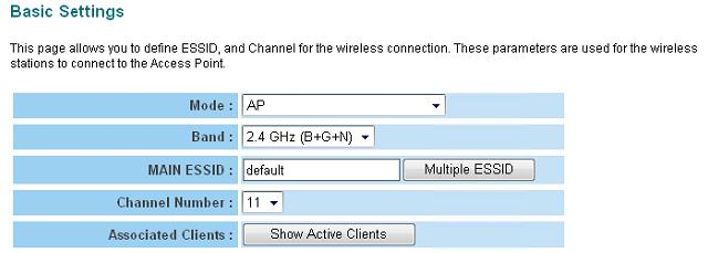 2-4-1 AP Mode This is the most common mode. When in AP mode, this access point acts as a bridge between 802.11b/g/Draft-N wireless devices and wired Ethernet network, and exchange data between them.