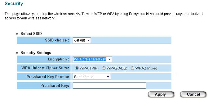 2-7-3 WPA Pre-shared Key WPA Pre-shared key is the safest encryption method currently, and it s recommended to use this encryption method to ensure the safety of your data.